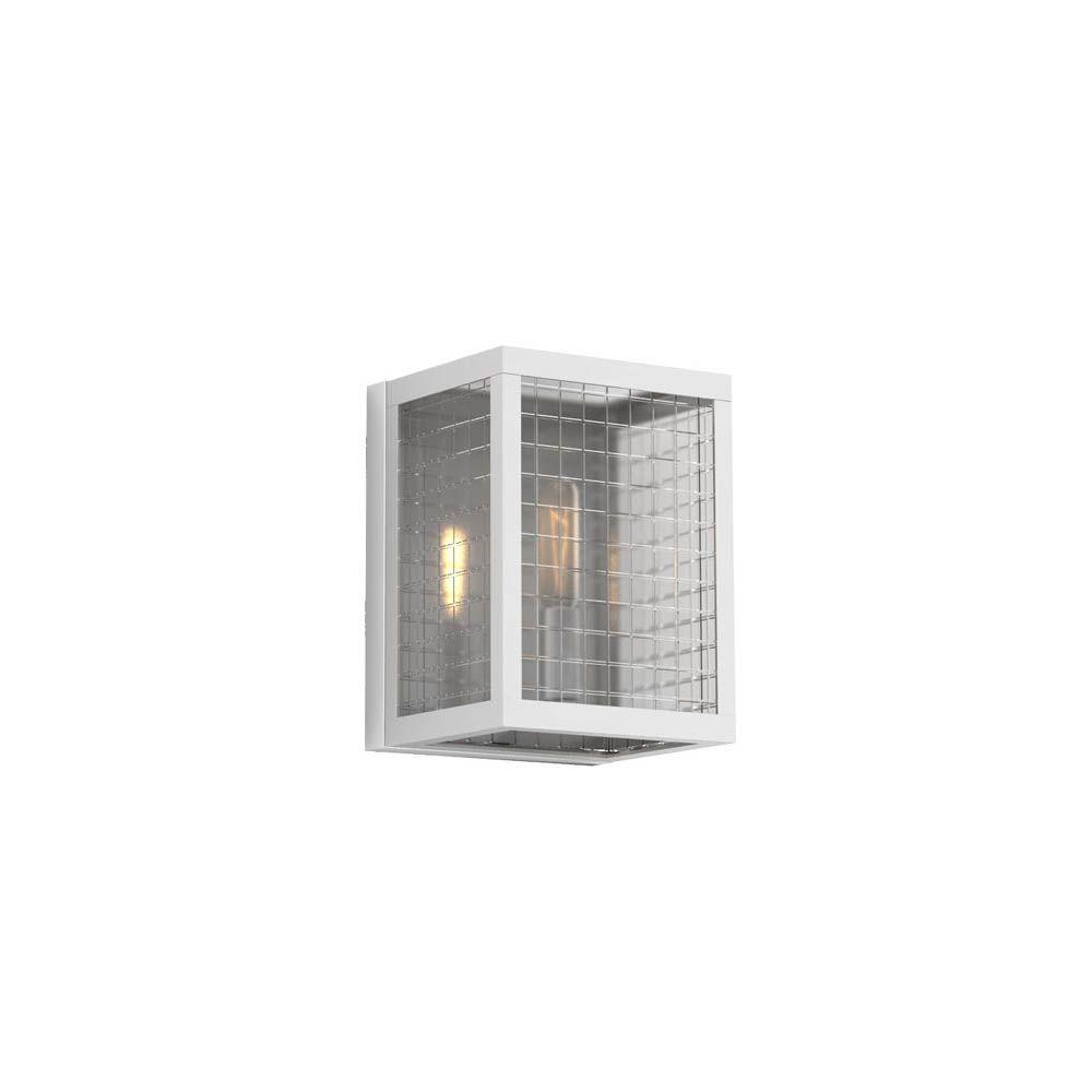 1-Light Brushed Nickel Sconce with Etched Clear Glass Shades