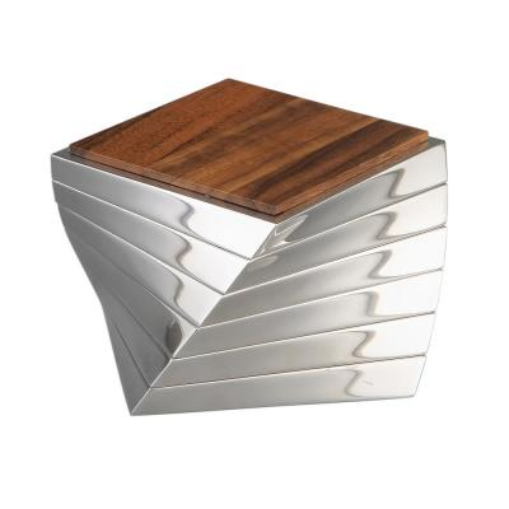 Twist 6-Piece Alloy and Wood Coaster Set