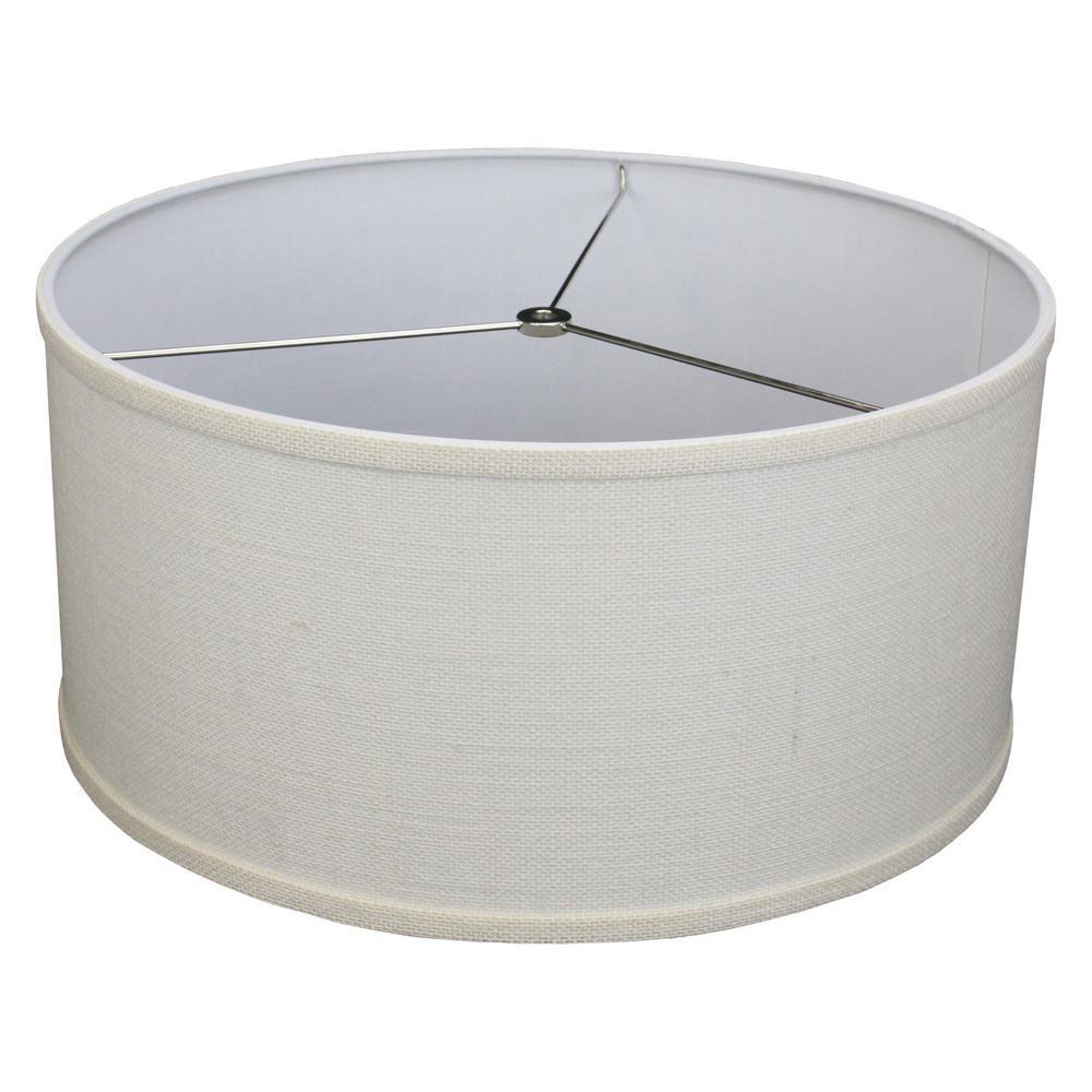 17 in. Top Diameter x 17 in. Bottom Diameter x 8 in. H Burlap Off White Drum Lamp Shade