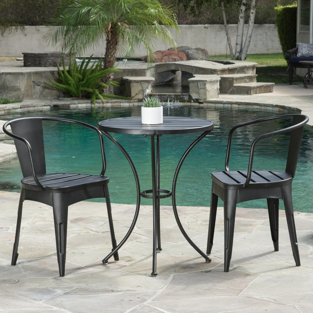 Colmar Black With Silver 3 Piece Metal Round Outdoor Bistro Set