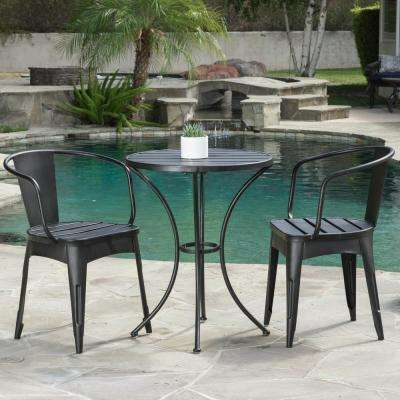 Colmar Black with Silver 3-Piece Metal Round Outdoor Bistro Set