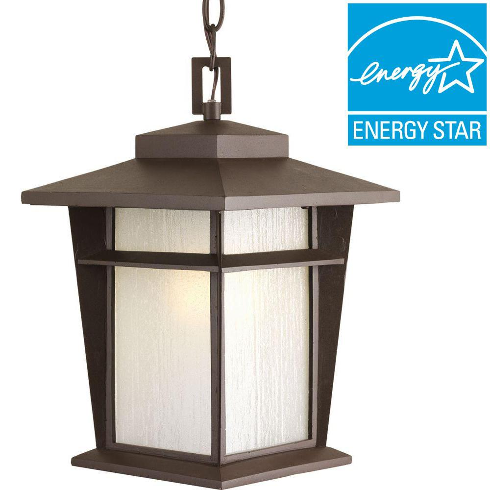 Loyal Collection 1-Light Antique Bronze Fluorescent Outdoor Hanging Lantern