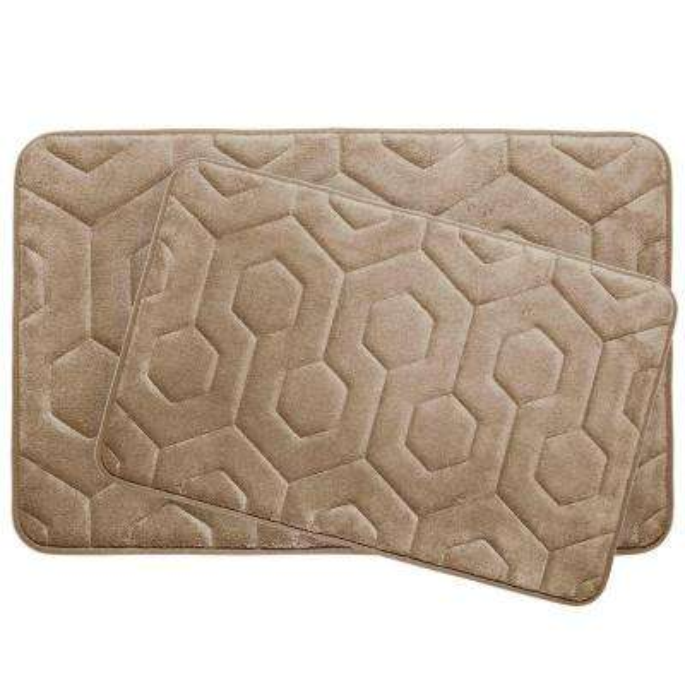 Hexagon Linen 20 in. x 34 in. Memory Foam Bath Mat Set (2-Piece)
