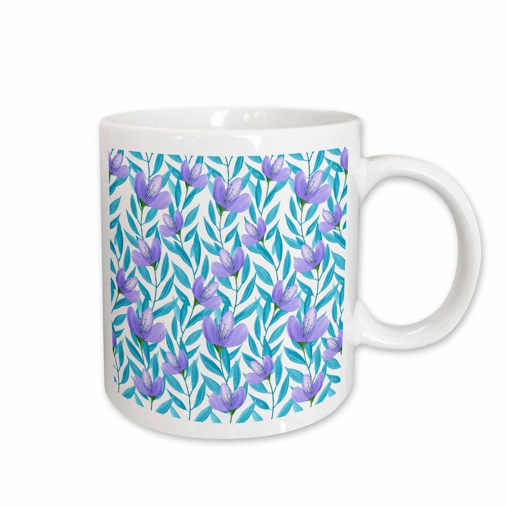 4a36b7d6c747 Anne Marie Baugh Floral Pretty Purple and Blue Watercolor Floral Vines  Pattern 11 oz. White Ceramic Coffee Mug