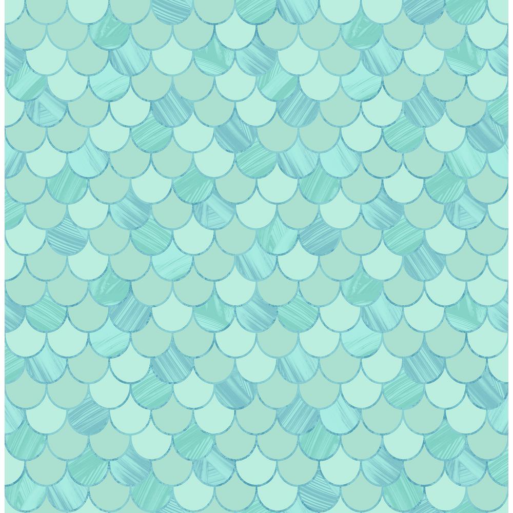 Catalina Metallic Aqua Scales Wallpaper