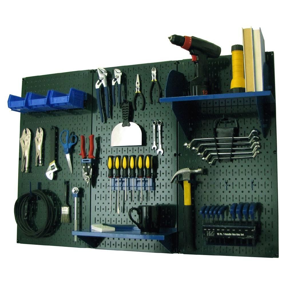 Wall Control 32 in. x 48 in. Metal Pegboard Standard Tool Storage Kit with Green Pegboard and Blue Peg Accessories