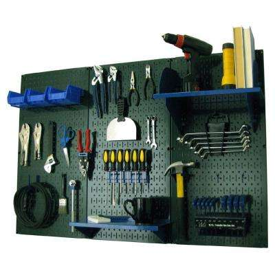 32 in. x 48 in. Metal Pegboard Standard Tool Storage Kit with Green Pegboard and Blue Peg Accessories