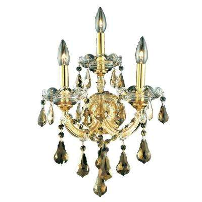 3-Light Gold Sconce with Golden Teak Smoky Crystal