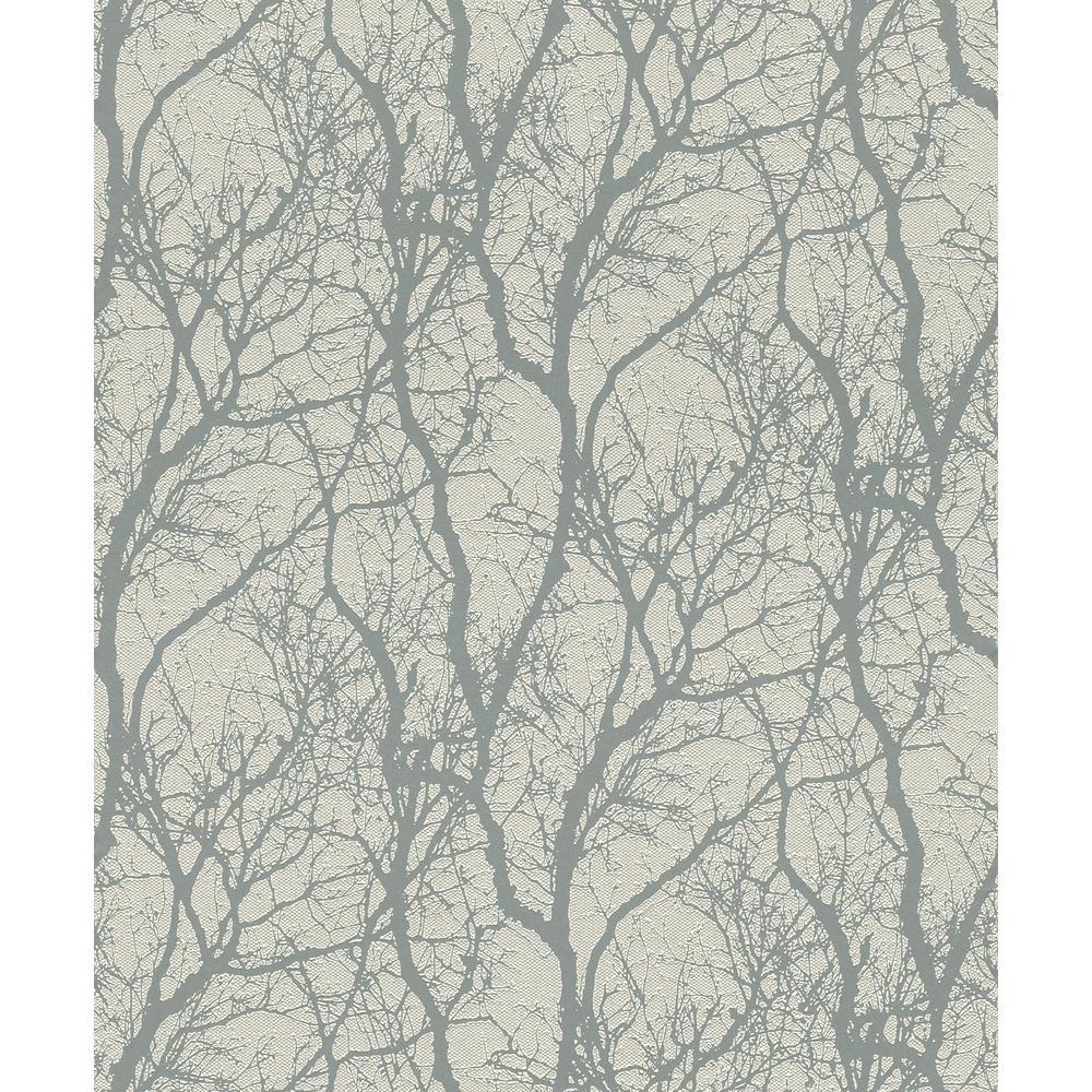 Rasch 8 in. x 10 in. Wiwen Grey Tree Wallpaper Sample