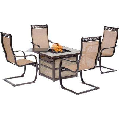 Monaco 5-Piece Aluminum Patio Conversation Set with 4 Sling C-Spring Chairs and 40,000 BTU Gas Fire Pit Coffee Table