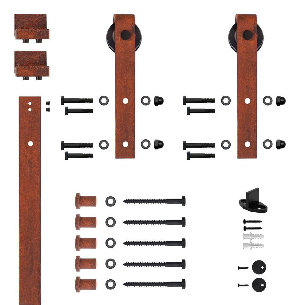 Hook Strap Red Patina Rolling Barn Door Hardware Kit with 2-3/4
