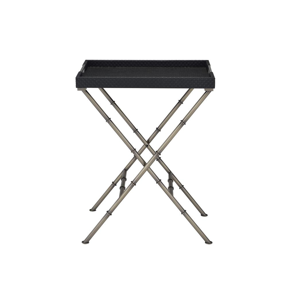 Lajos Black Weave and Antique Gold Tray Side Table