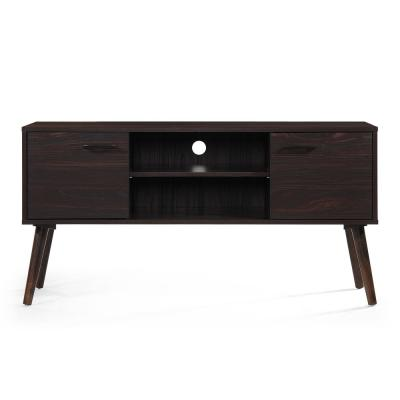 48 in. Walnut Particle Board TV Console Fits TVs Up to 50 in. with Storage Doors