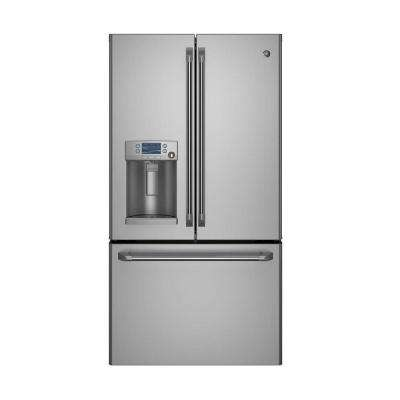 Cafe 36 in. W 22.1 cu. ft. French Door Refrigerator in Stainless Steel, Counter Depth