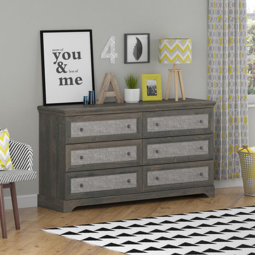 Altra Furniture Stone River 6-Drawer Dark Gray Oak Dresser