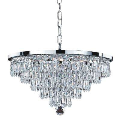 Vista 6-Light Faceted Crystal Teardrop and Chrome Frame Chandelier