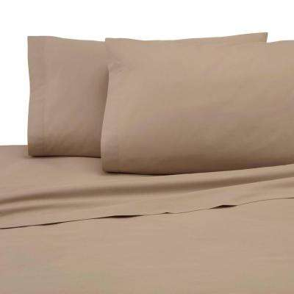 4-Piece Khaki Solid 225 Thread Count Cotton Blend Queen Sheet Set