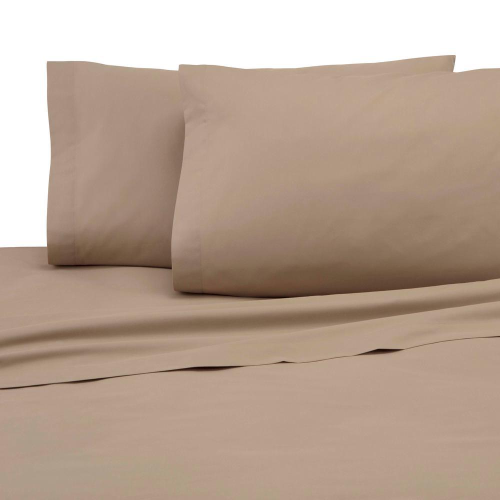 3-Piece Khaki Solid 225 Thread Count Cotton Blend Twin Sheet Set