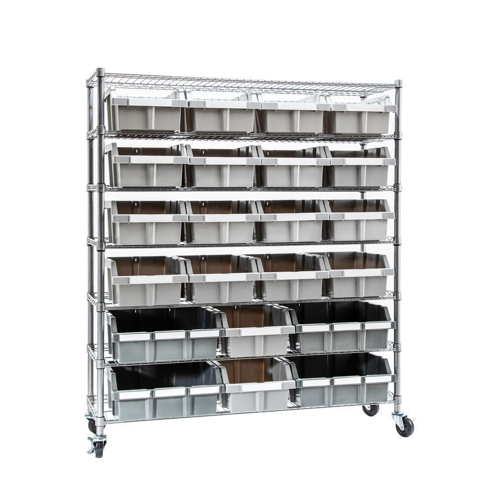 Commercial Gray 7-Tier NSF 21-Bin Rack Steel Freestanding Garage Storage Shelving Unit, 48 in. W x 72 in. H x 14 in. D