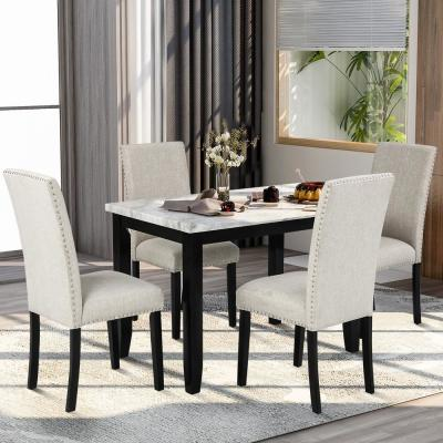 Faux Marble White 5-Piece Dining Set with Thick Cushion Chairs