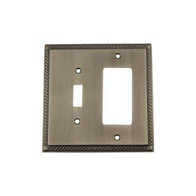 Rope Switch Plate with Toggle and Rocker in Antique Pewter