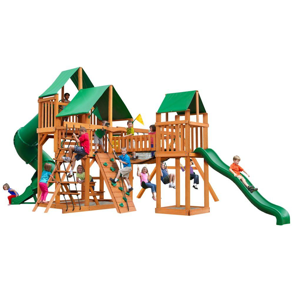 Gorilla Playsets Treasure Trove with Amber Posts and Deluxe Green Vinyl Canopy Cedar Playset