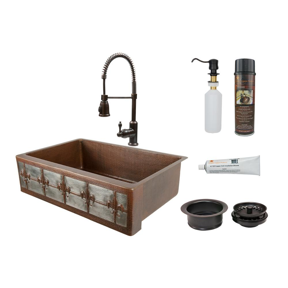Premier Copper Products All-in-One Dual Mount Copper 33 in. Single Bowl  Fleur De Lis Kitchen Sink with Faucet in ORB and Nickel