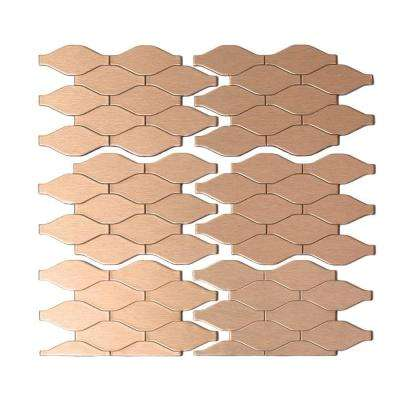Wavelength Matted 6 in. x 4 in. Metal Decorative Tile Backsplash in Champagne