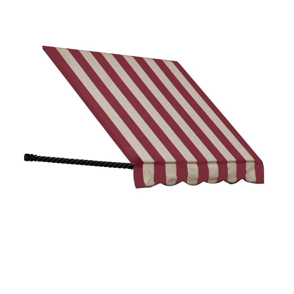 AWNTECH 4 ft. Santa Fe Twisted Rope Arm Window Awning (44 in. H x 24 in. D) in Burgundy/Tan Stripe