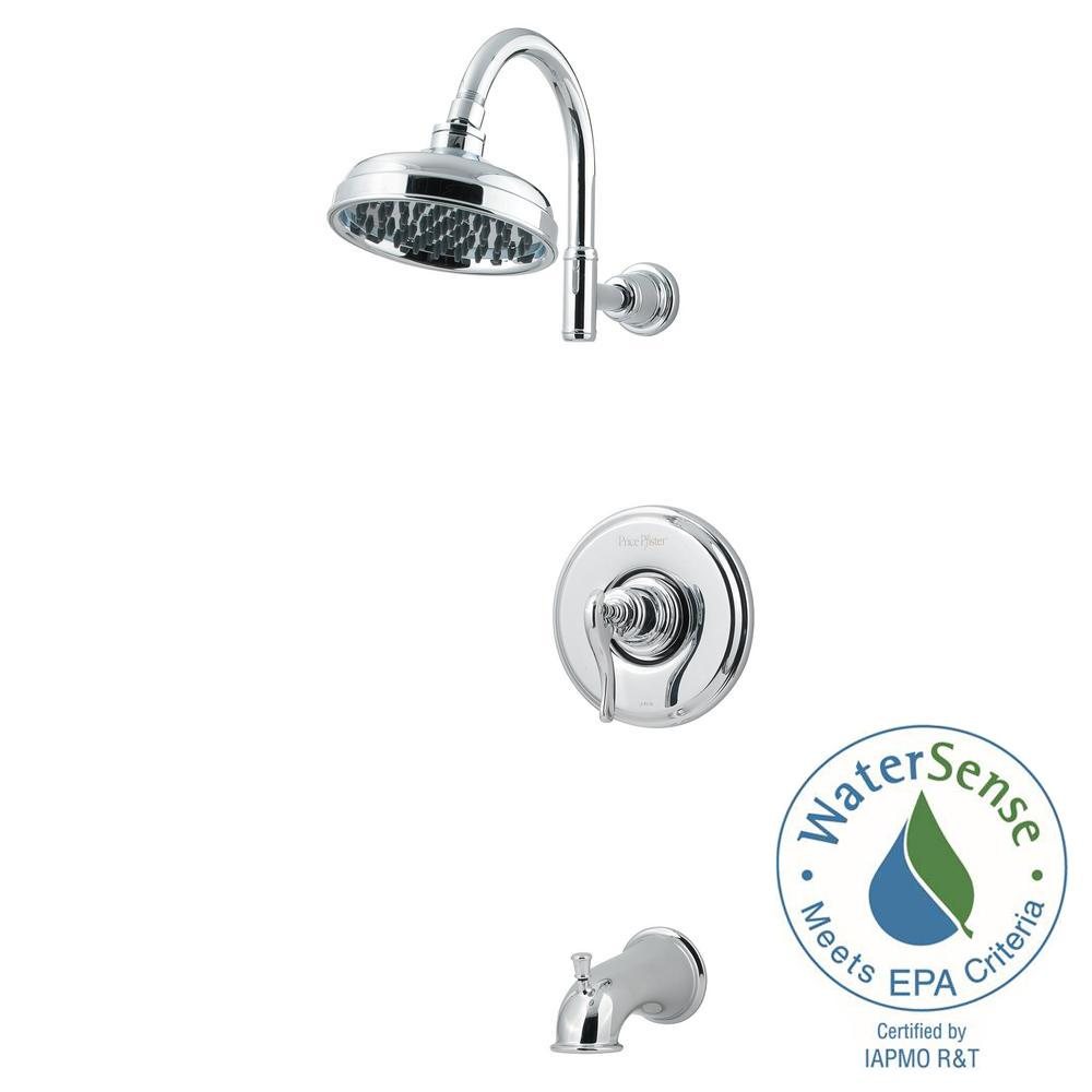Pfister Ashfield 1 Handle Tub And Shower Faucet Trim Kit In Polished Chrome Valve