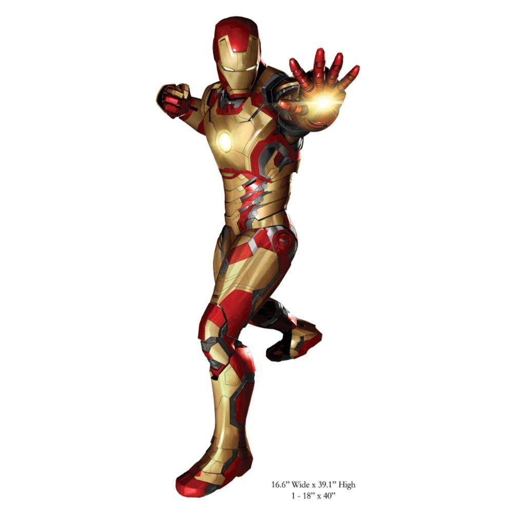 null 5 in. x 19 in. Iron Man 3 Peel and Stick Giant Wall Decals-DISCONTINUED