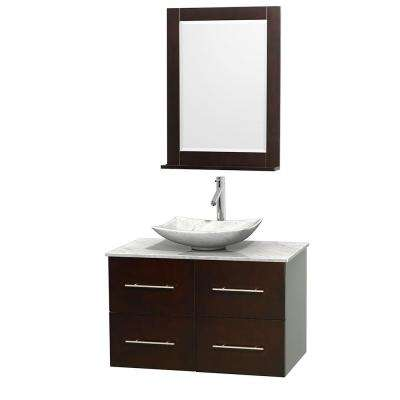 Centra 36 in. Vanity in Espresso with Marble Vanity Top in Carrara White, Marble Sink and 24 in. Mirror