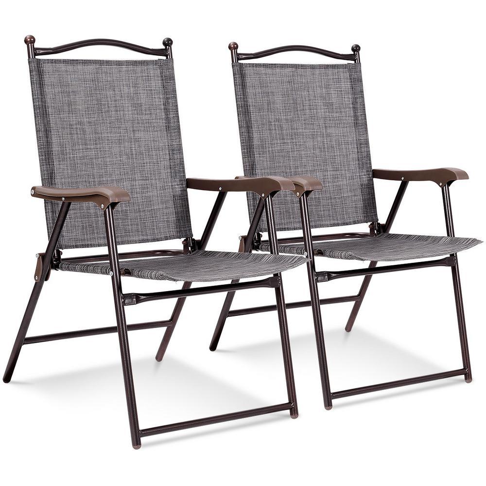 Gray Metal Outdoor Patio Folding Beach Lawn Chair (Set of 2)