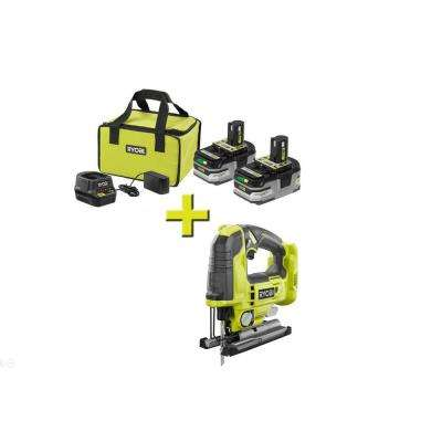 18-Volt  ONE+ Brushless Jig Saw with ONE+ LITHIUM+ HP 3.0 Ah Battery (2-Pack) Starter Kit with Charger and Bag