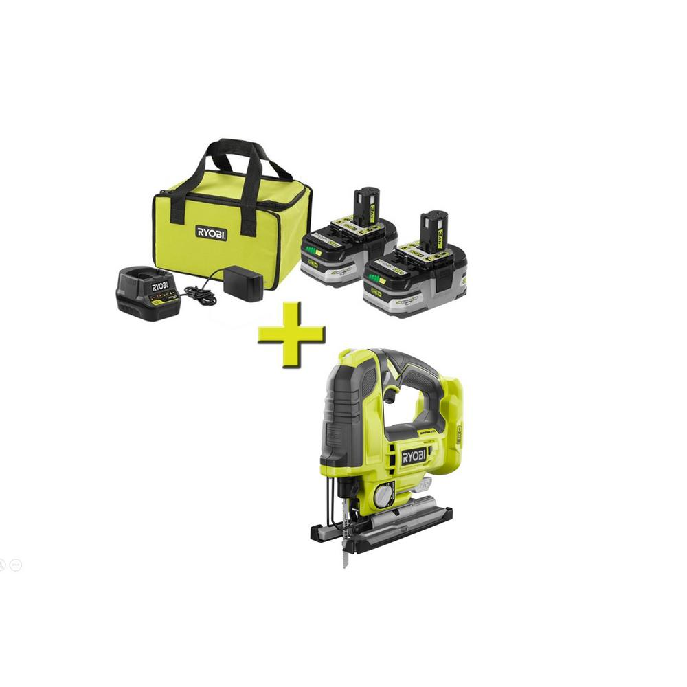 RYOBI 18-Volt ONE+ Brushless Jig Saw w/Free ONE+ LITHIUM+ HP 3 Ah Battery 2-Pack Starter Kit w/ Charger & Bag