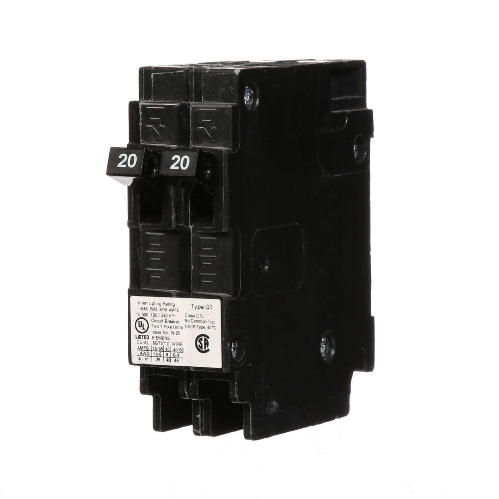 Siemens 20 Amp Tandem Single-Pole Type QT Circuit Breaker-Q2020U ...