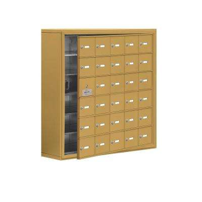 19100 Series 37 in. W x 36.5 in. H x 9.25 in. D 29 Doors Cell Phone Locker Surface Mount Keyed Lock in Gold