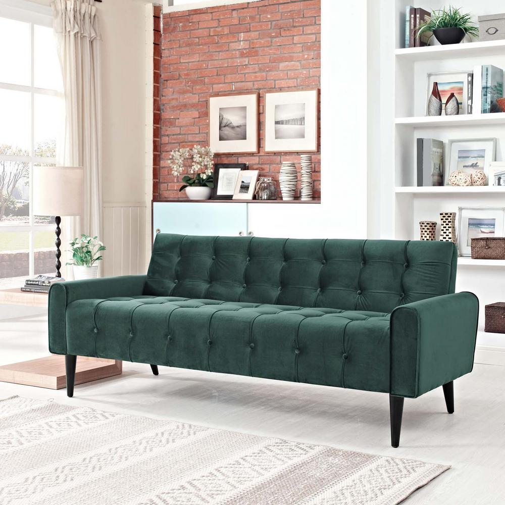 Modway Delve Green Velvet Sofa Emerald