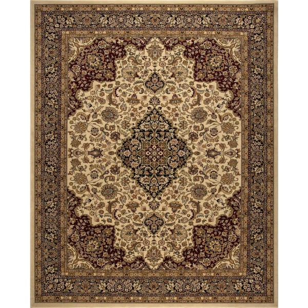 Home Decorators Collection Silk Road Ivory 8 Ft X 10 Ft Medallion Area Rug 30927 The Home Depot