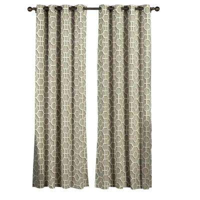 Semi-Opaque Lenox 100% Cotton Extra Wide 96 in. L Grommet Curtain Panel Pair, Taupe (Set of 2)
