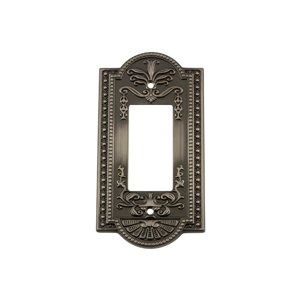 Meadows Switch Plate with Single Rocker in Antique Pewter