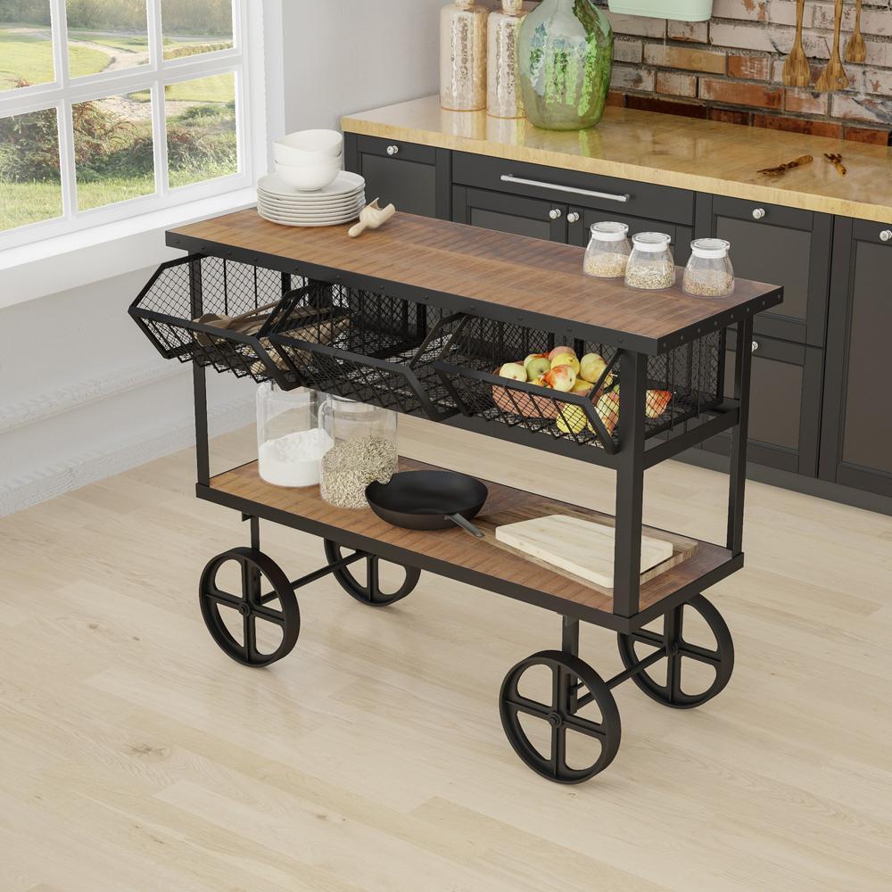 Yosemite Home Decor Mango Wood Kitchen Cart With Drawers ...