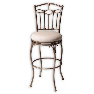 30 in. Concord Metal Bar Stool with Linen Upholstered Swivel-Seat and Brushed Bronze Frame Finish