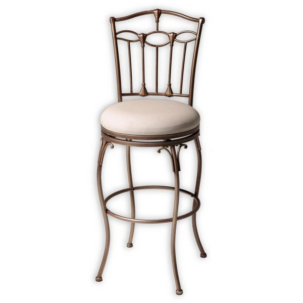 Fashion Bed Group 30 in. Concord Metal Bar Stool with Linen Upholstered Swivel-Seat and Brushed Bronze Frame Finish