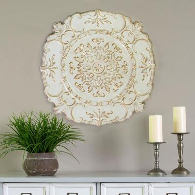 White Metal European Medallion Wall Decor
