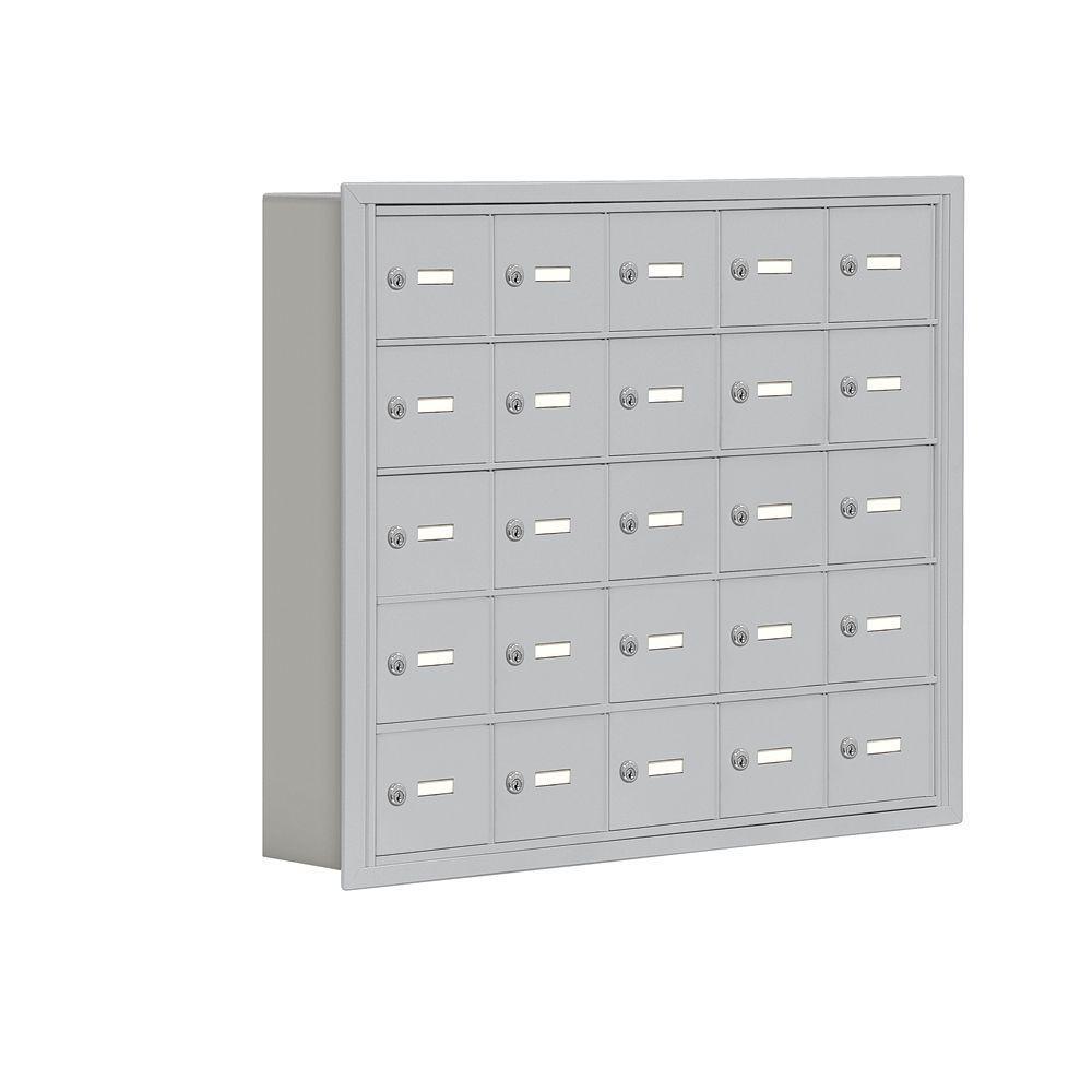 Salsbury Industries 19000 Series 37 in. W x 31 in. H x 5.75 in. D 25 A Doors R-Mount Keyed Locks Cell Phone Locker in Aluminum