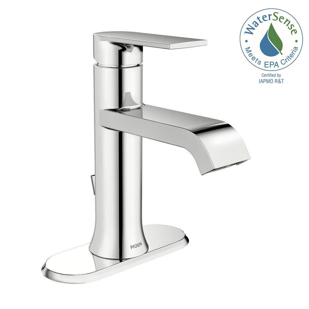 moen genta single hole single handle bathroom faucet in chrome rh homedepot com one hole bathroom faucets one hole bathroom faucets
