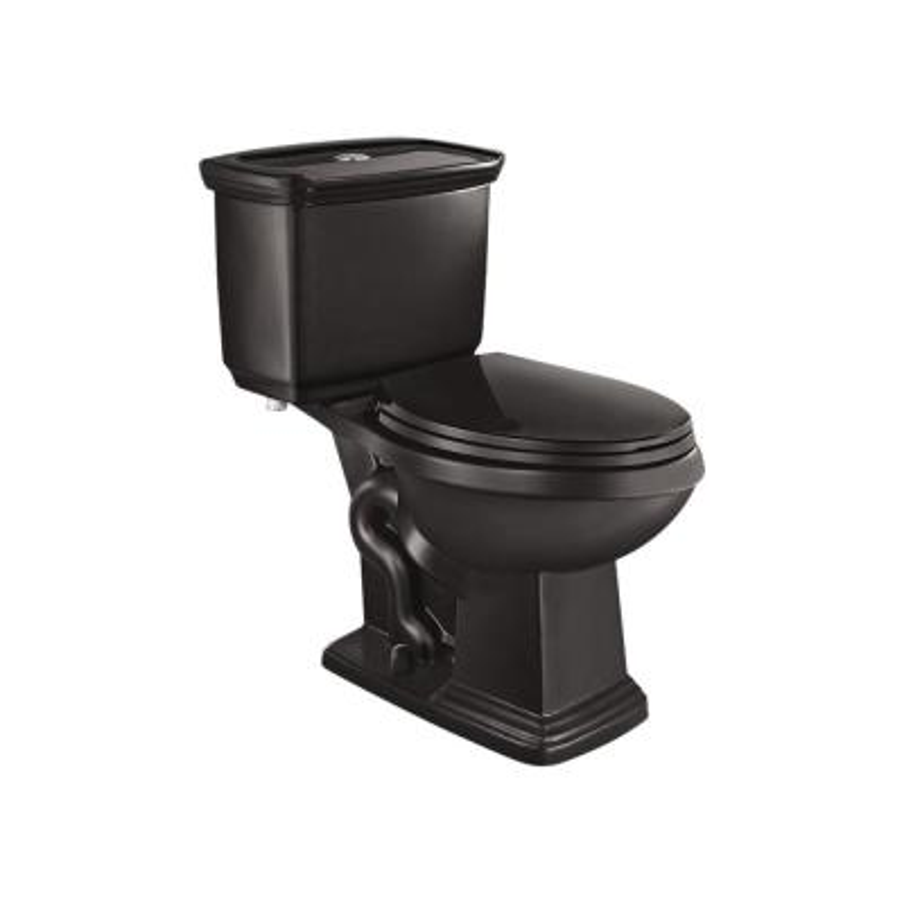 2-piece 1.0 GPF/1.28 GPF High Efficiency Dual Flush Elongated Toilet in Black