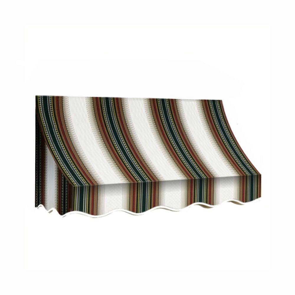 AWNTECH 5 ft. Nantucket Window/Entry Awning (44 in. H x 36 in. D) in Burgundy/Forest/Tan Stripe