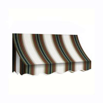 8 ft. Nantucket Window/Entry Awning (56 in. H x 48 in. D) in Burgundy/Forest/Tan Stripe
